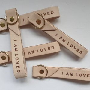 """I AM LOVED"" Leather Key Ring"